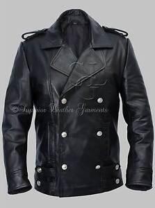 Men's German Naval Military Pea Coat Black Cowhide Genuine Leather ...