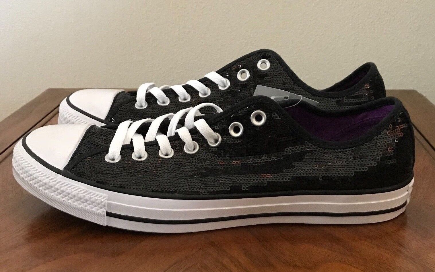 Converse All Star Chuck Taylor Sneakers Black Sequin Mens 10 Womens 12 Shoes