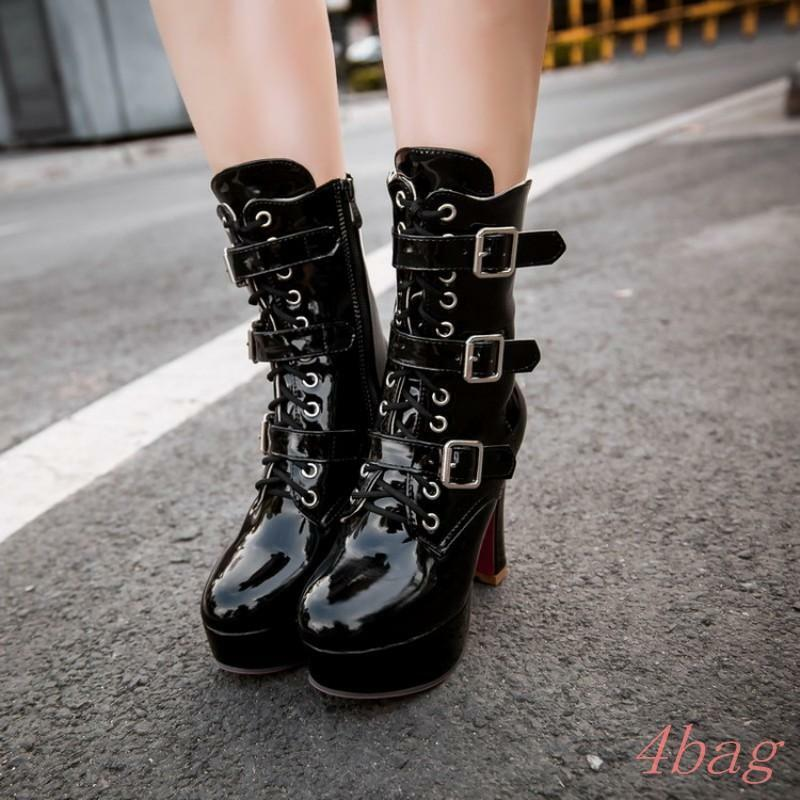 Women buckle mid calf boots lace up block high heel heel heel platform clubwear shoes 12.5 d7c025
