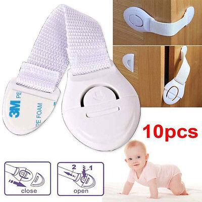 1//10PCS ADHESIVE BABY CHILD KIDS SAFETY CABINET DOOR FRIDGE DRAWER CUPBOARD LOCK