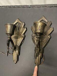 """2 vintage art deco 'ART Kast """"métal moulé sconce wall Luminaire-pour restauration"""