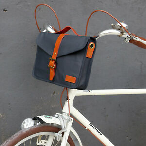 Tourbon Vintage Bike Bag Canvas Front Handlebar Pannier with Leather Carry Strap