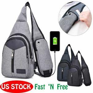 US-Men-Women-Shoulder-Bag-Sling-Chest-Pack-USB-Charging-Sports-Crossbody-Handbag