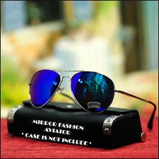Mens Womens Aviator Sunglasses Fashion Driving Green Purple Mix Mirrored Lens