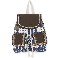 Catori Denium Blue Beige Bohemian Aztec Canvas Drawstring Backpack Tote Bag New