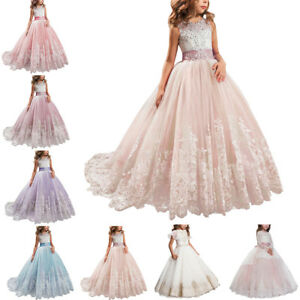 8b4185eb569b9 Details about Flower Girl Princess Dress Lace Trailing Gown for Kids Party  Wedding Bridesmaid