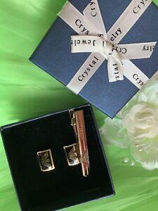 Armani-Stylish-amp-Stunning-Cufflinks-amp-Tie-Clip-Set-With-Box-Gold-plated