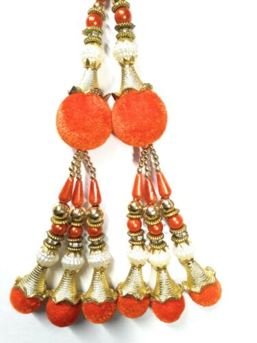 1 Pair Keychain Blouse Sari Latkans Indian Orange Tassels Decorative Supply