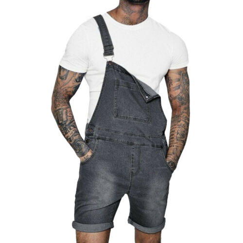Mens Denim Destroyed Pants Overall Bib Frayed Jumpsuit Dungarees Cargo Jeans UK