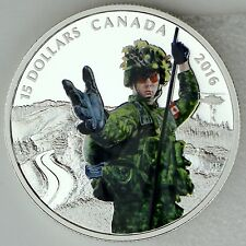 Canada 2016 $20 National Heroes: Military, 99.99% Pure Silver Color Proof Coin