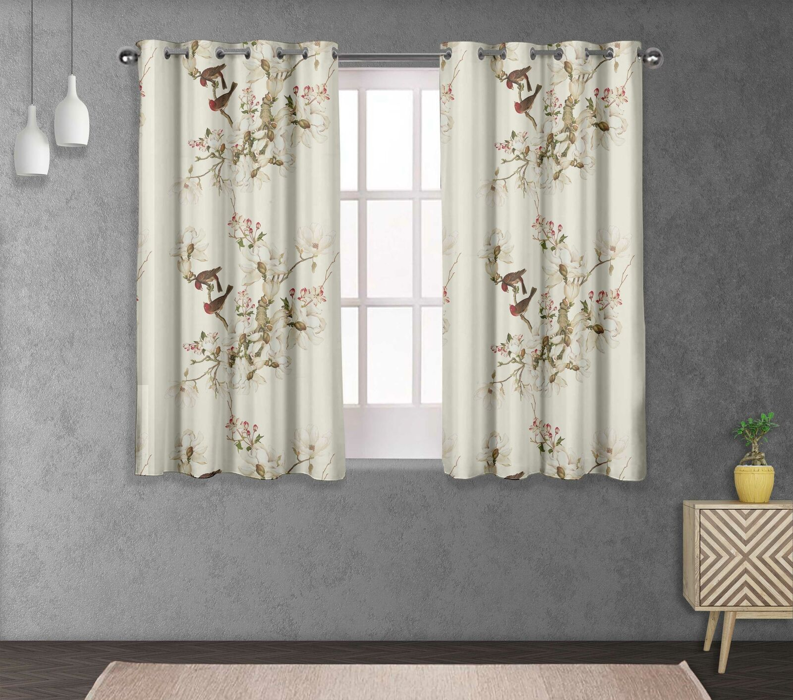 S4sassy Bird & Magnolia Bed Room Divider short & long Curtain Panel -FL-121A