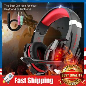 Stereo Gaming Headset,Noise Cancelling,Over Ear Headphones Mic,LED Light, Bass