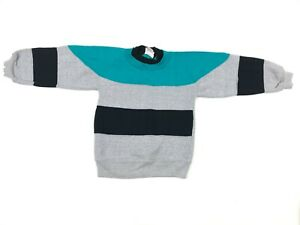 Vtg-80s-90s-HUSH-PUPPIES-Baby-Toddler-ColorBlock-Stripe-Sweatshirt-Crewneck-5