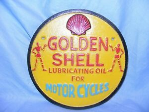 Shell Stickman Sign Cast Iron Advertising Garage Man Cave Motorbike Wall Sign