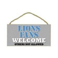 DETROIT LIONS NFL FANS WELCOME othersnot allowed Wood Sign - NEW