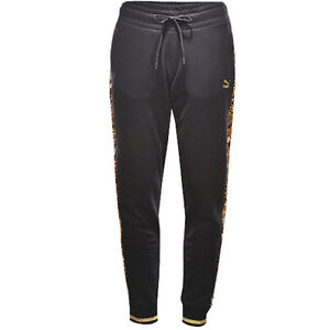 9b173da0893a Image is loading Puma-Printed-Panels-Leopard-Black-Womens-Sweat-Pants-