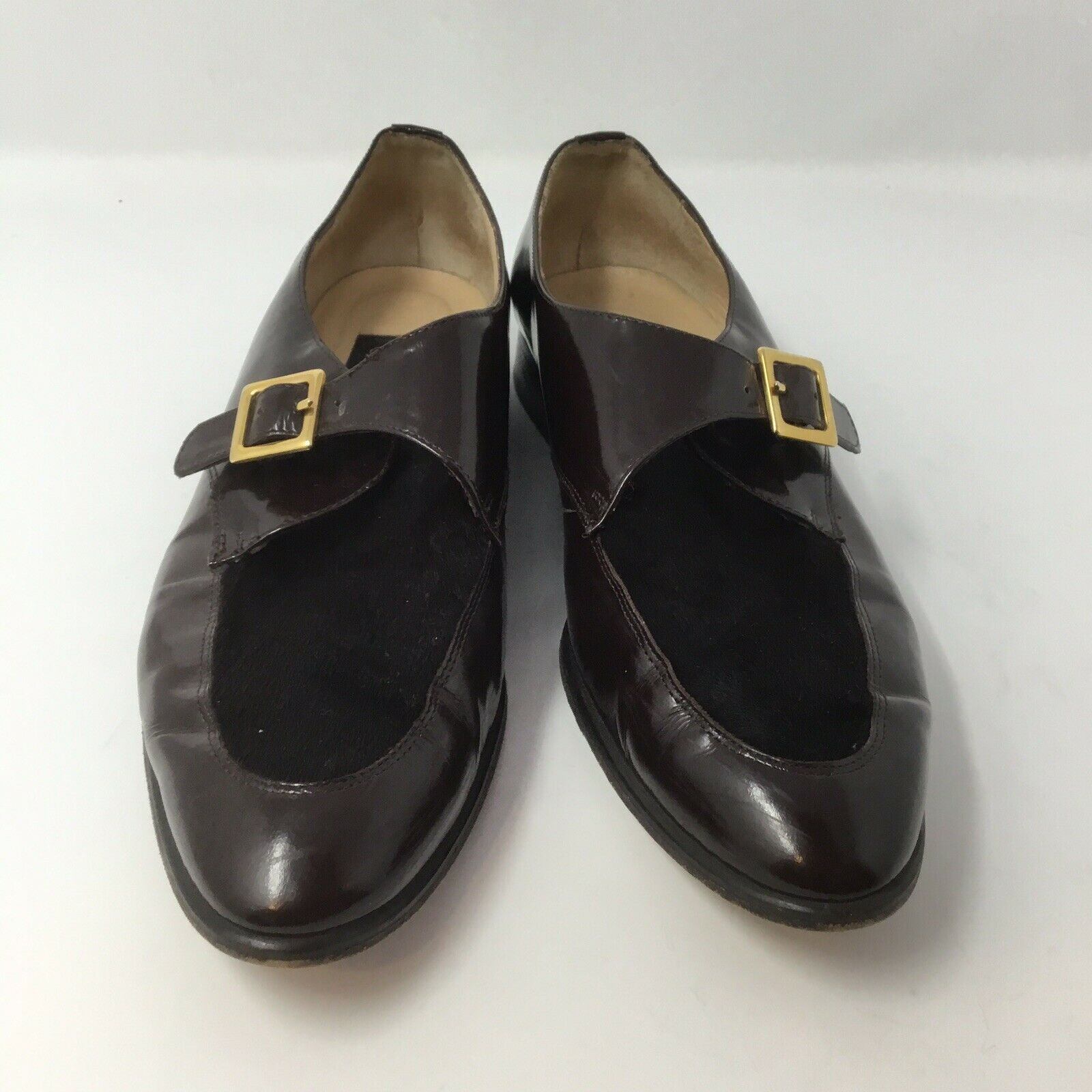 Classiques Entier womens brown monk strap flats leather calf hair size 9.5N poin