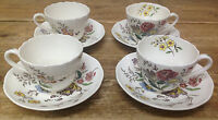 Gainsborough Spode Great Britain Floral S245 Colorful 4 Flat Cup Saucer Sets