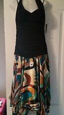 Womens Multicolor Black Halter Dress Sz 14