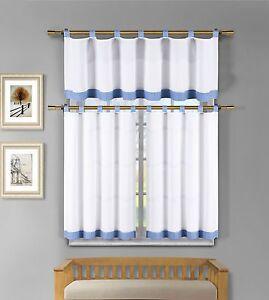 Tatum 3 Pc White Blue Gingham Check Kitchen Window Curtain ...