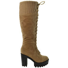 ba993aef591 item 6 Women s Knee High Boots Platform Chunky Heel Lace Up Knitted Collar  Winter Shoes -Women s Knee High Boots Platform Chunky Heel Lace Up Knitted  Collar ...