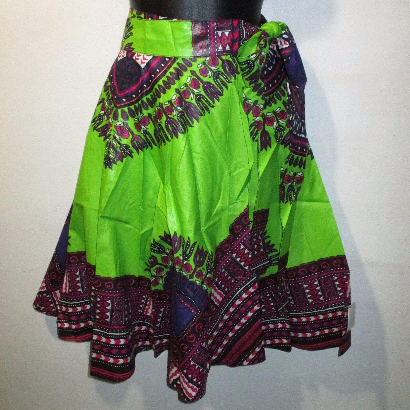 Mini Skirt Fit S M L XL Wrap Waist Green Purple Dashiki Ankara Wax Print NWT 330