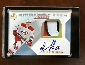 2018-19-SP-Authentic-Andrei-Svechnikov-3-CLR-Future-Watch-Rookie-Auto-Patch-100