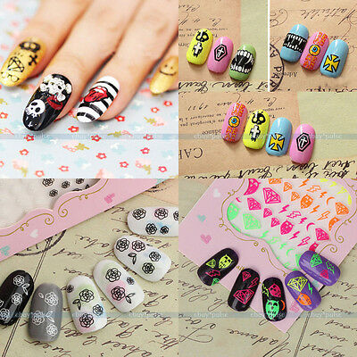 New 3D Colorful Nail Art Tips Stickers Decal Wraps Acrylic Manicure Decorations