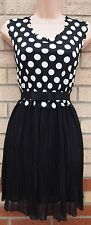 Tsega Bianco Nero a Pois muovere skater flare Dolly Party Vintage Tea Dress M L