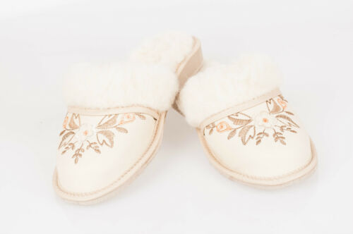 Women`s//Ladies Winter Slippers 100/% Natural Leather/&Sheepwool size:UK3,4,5,6,7,8