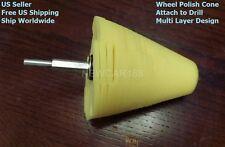 Wheel Polish Polishing Cone Foam Buffer with Power drill attachment (Yellow)