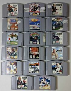 Lot of 17 Nintendo 64 N64 Cartridge Games EA Golf Kobe Madden Collection