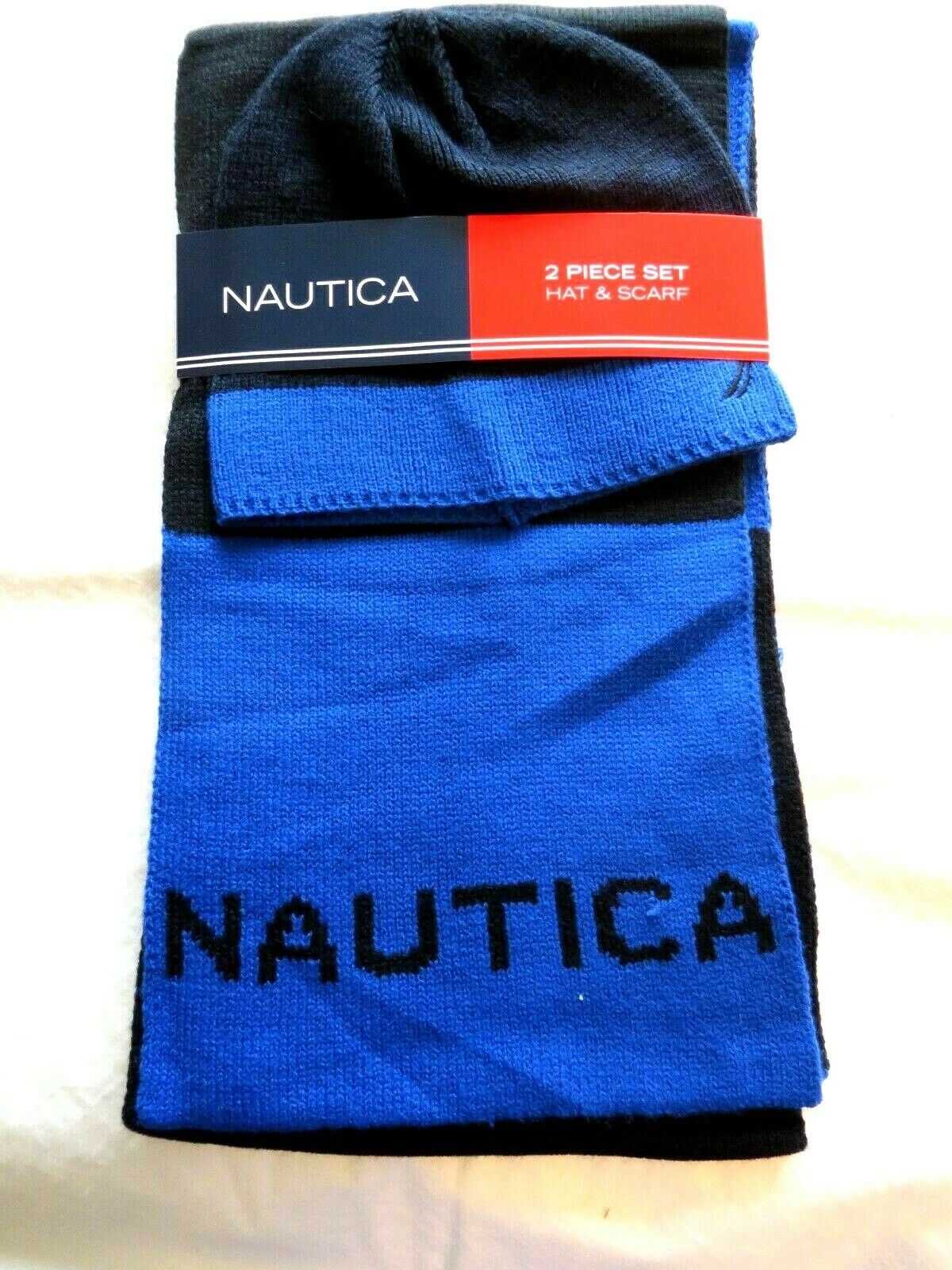 Nautica 2 Piece Hat & Scarf Set Black and Blue New with Tag #11317
