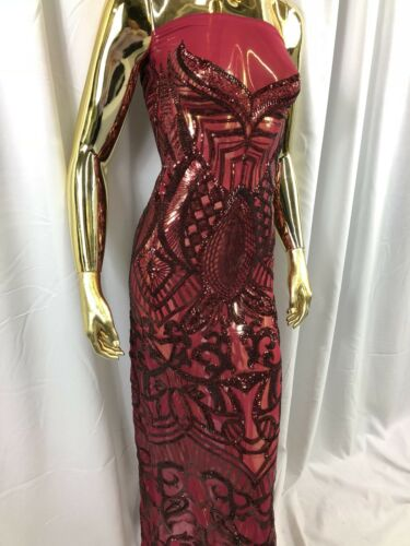Burgundy Sequins Fabric 4 Way Stretch Embroidered Lace Fabric By The Yard