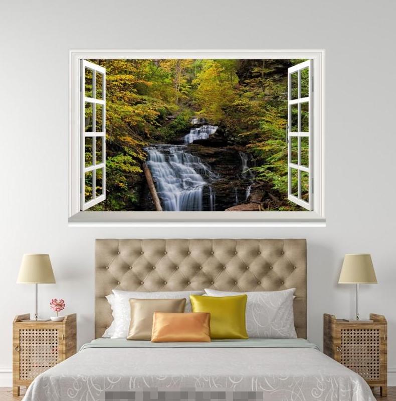 3D Waterfall Plant Trees 0166 Open Windows WallPaper Murals Wall Print AJ Jenny