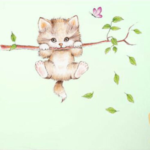 Cat Butterfly Tree Branch Wall Stickers For Kids Rooms Home Nursery Decoration
