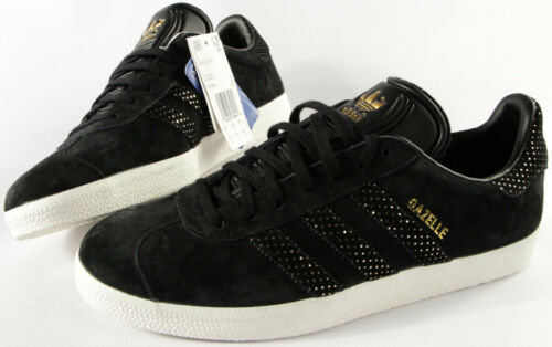 Originals scamosciata w pelle Adidas new Womens 10 Sneakers oro nere in Shoes Gazelle fvwx4d
