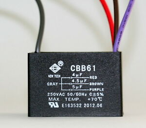 Ceiling Fan Capacitor Cbb61 4uf 4 5uf 5uf 4 Wire