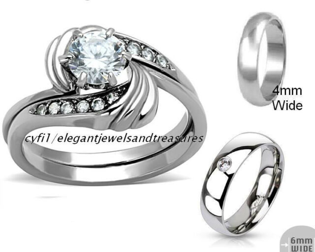 Stainless Steel 3 Pc His Her Hers Cz Engagement Bridal Wedding Band Ring Set