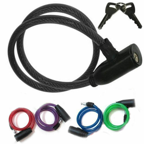 Cable Bike Lock Bicycle Anti-Theft Steel Spiral Chain Security 2 Keys
