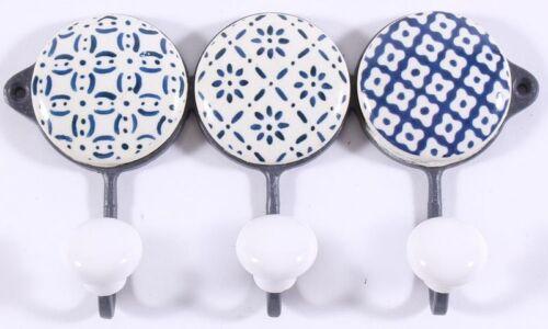 Hakenleiste 3er Handtuchhalter Metall Keramik weiß blau 16*9*3,5 cm