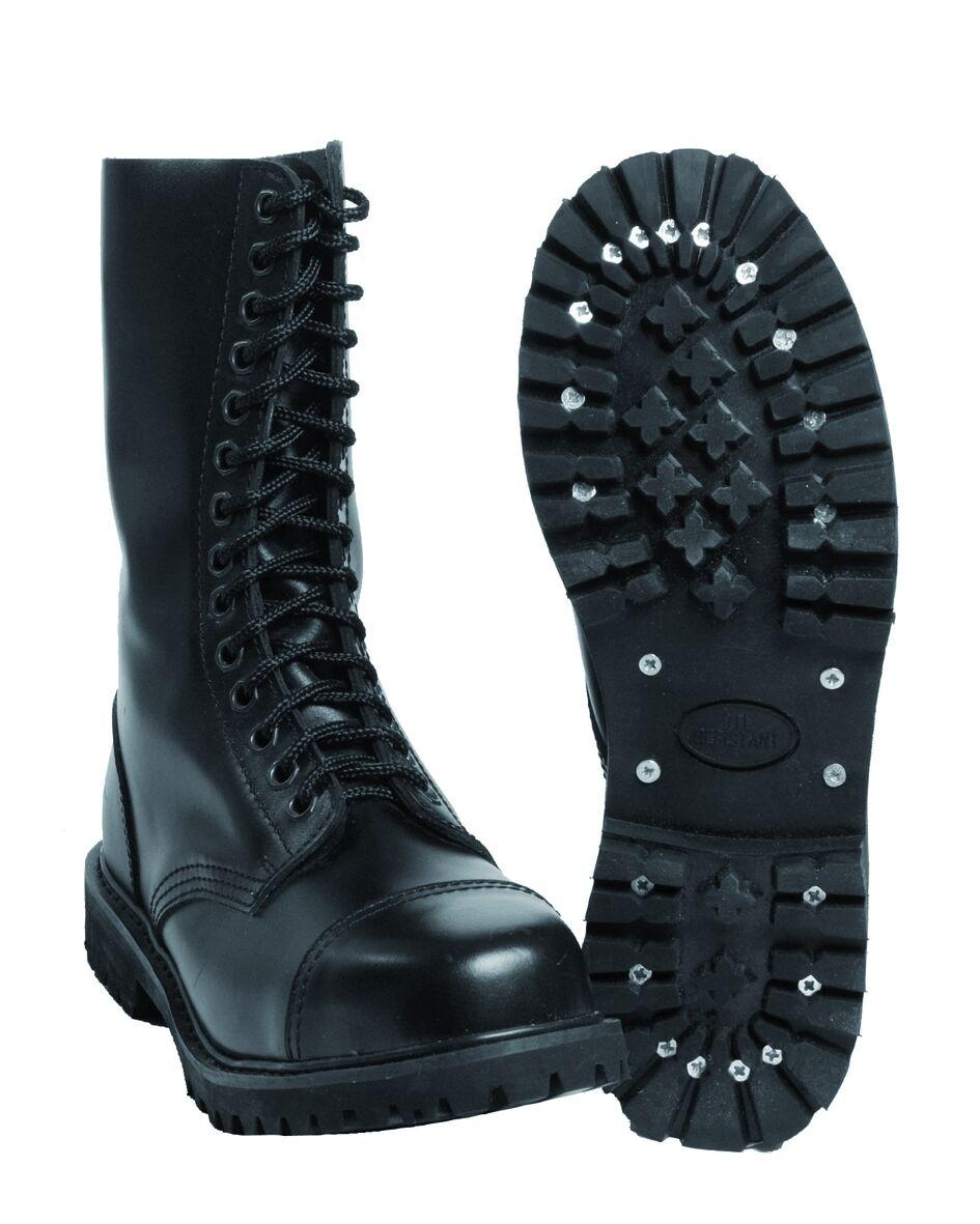 Mil-tec-Invader 14 agujeros botas negro acero capuchón zapatos de piel Ranger