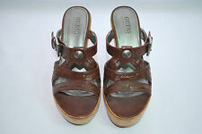 GUESS by Marciano Hunk Brown Leather Silver Studs Wedges Platform Clogs Mules 7