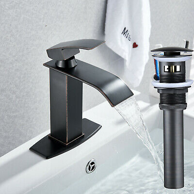 """2x NEW Oil Rubbed Bronze 1 1//2/"""" Pop-Up Drain without Overflow Vessel Sink Faucet"""