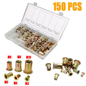 150PCS-Rivet-Nut-Tool-Kit-Mixed-Zinc-Carbon-Steel-Threaded-Rivnut-Nutsert-Insert