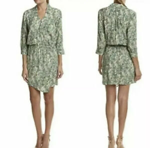 Medium - CAbi Wrap Front Tropical Leaf Print Dress #280