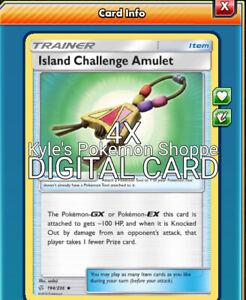 4X Island Challenge Amulet 194//236 Cosmic Eclipse Pokemon Online Digital Card