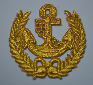 GOLDEN-ANCHOR-NAUTICAL-CREST-Embroidered-Iron-Sew-On-Cloth-Patch-Badge-APPLIQUE
