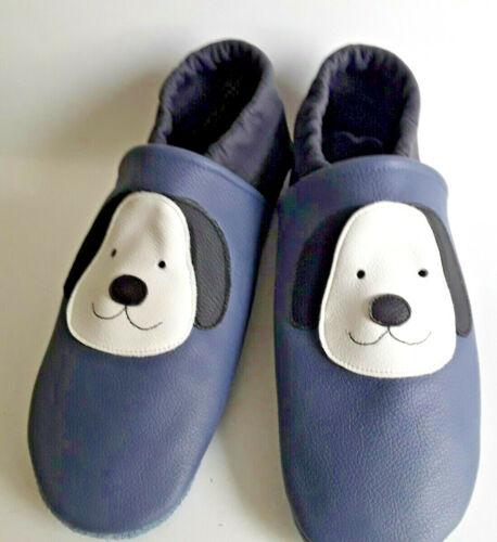 37 Hund taubenblau Lederpuschen  Gr Leder No-name medium blau Hausschuhe