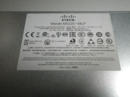 Cisco Meraki MS220-48LP Cloud Managed PoE Switch HW Claimed But Work Perfectly!